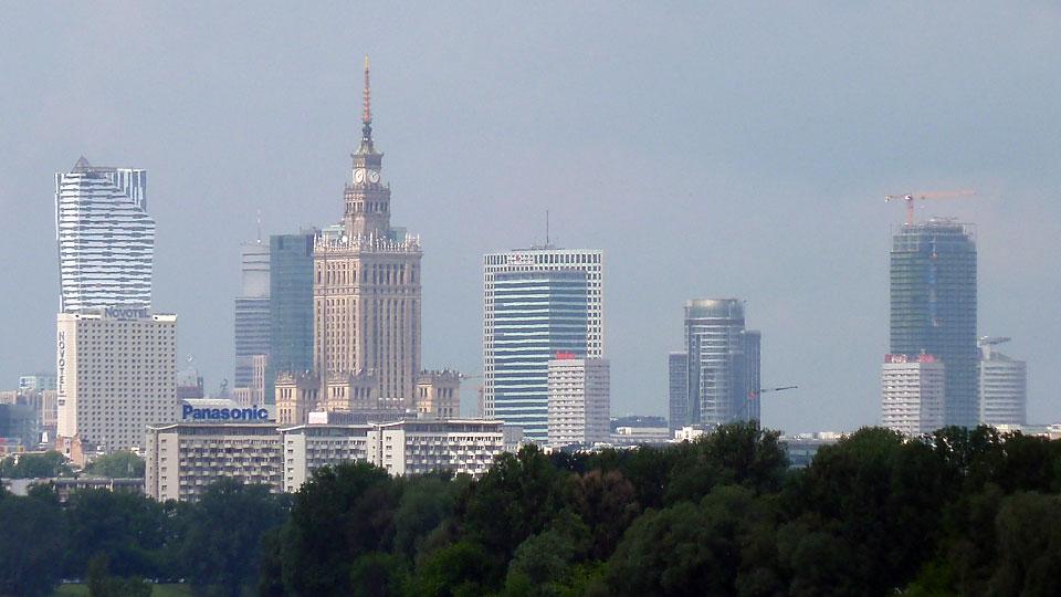 Panorama Warszawy zMostu Siekierkowskiego