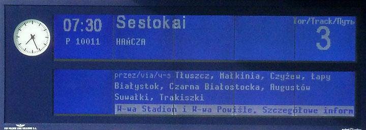 Zapowiedź pociągu Hańcza doSestokai